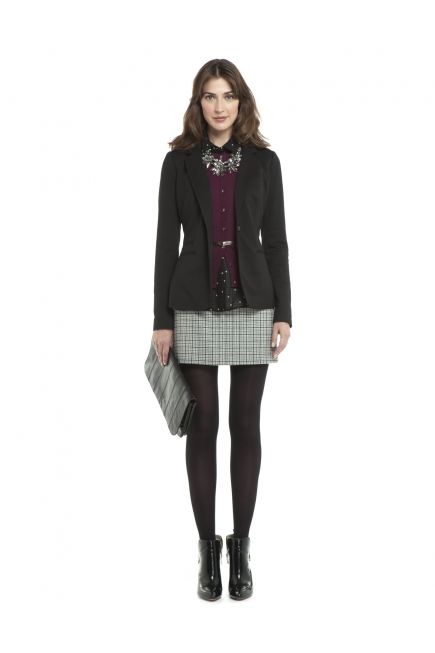 JACOB British Look - ponte blazer, polka dot chiffon blouse, plaid flannel skirt @Boutique JACOB #JACOBGIFTS