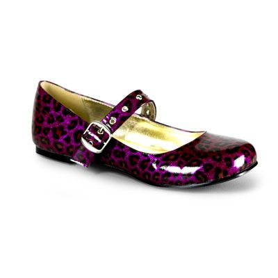 Daisy-04 paars luipaardprint glitter- emo, glamrock ballerina platte schoen met…