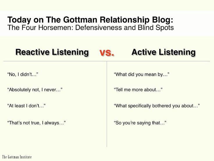 Gottman: Reactive vs. Active Listening. So good to learn for parenting skills.