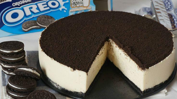 Tarta de queso oreo o cheesecake oreo. Receta de tarta fácil sin horno. Ideal como tarta de cumpleaños. Receta fácil y muy rápida.