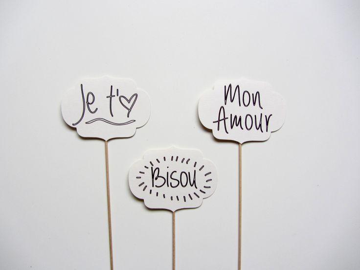 Pancartes pour photobooth *Je t'aime, Bisou & Mon amour*