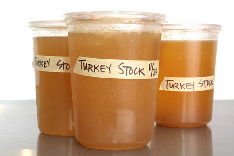 Homemade turkey stock. Great way to not waste the Thanksgiving carcass and control flavor, sodium, etc. Added fresh sage in addition to thyme. Made tons of yummy stock that I'm about to freeze.