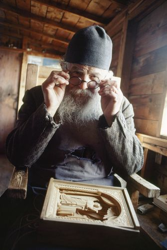 Another monk of Mt. Athos and a master wood carver