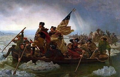 """GUERRA D'INDIPENDENZA AMERICANA (1775-1783) _ Washington attraversa il fiume Delaware, la notte tra il 25 e il 26 dicembre del 1776   L'attraversamento del fiume Delaware da parte del generale George Washington  diede il via all'attacco a sorpresa che si concluse con la battaglia di Trenton nell'omonima località del New Jersey.  [Emanuel Leutze (1816-1868) """"Washington attraversa il fiume Delaware"""", 1851 (Metropolitan Museum of Art, New York) ]"""