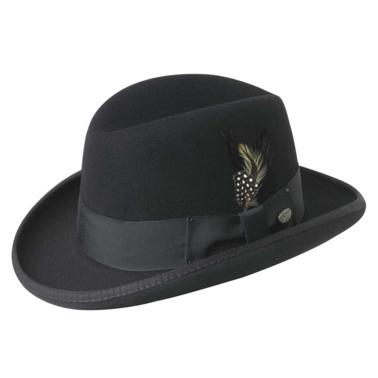 1920s Style Hats for Men - Black Homburg with feather hat #1920sfashion