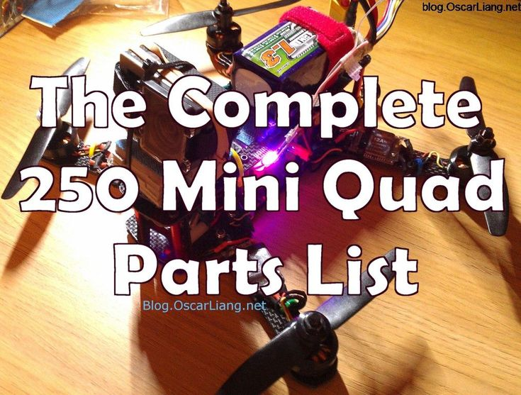 The ultimate 250 mini quad part list, almost complete selection of motor, esc, flight controller, frame, prop and other components to build your quadcopter.