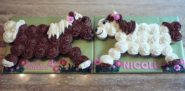 Horse Cupcake Cake - Vanilla and chocolate cupcakes on cakecentral.com