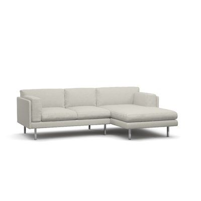 BenchMade Modern Skinny Fat Sofa with Chaise Size: 107 x 35.5 x 63, Body Fabric: Graham Charcoal, Leg Color: Espresso, Sectional Orientation: Left ...