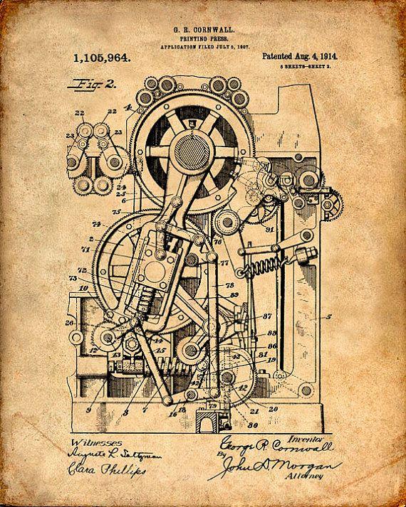 Printing Press Patent 1914 Patent Art Print Patent Poster