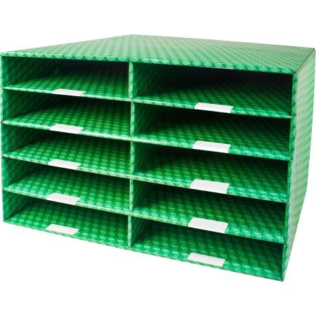 Corrugated Construction Paper Sorter with 10 or 15 Slots, Green