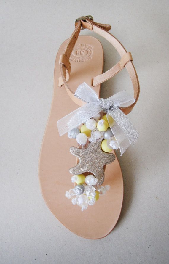 Leather handmade sandal with silver starfish and by MyMarmade, €43.00