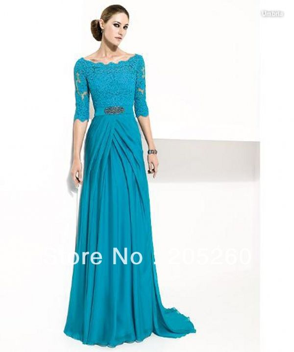 Free Shipping 2013 New Wholesale Elegant Half Sleeve Lace A line Long Chiffon Turquoise Mother Of The Bride Dresses AM002-in Mother of the Bride Dresses from Apparel & Accessories on Aliexpress.com