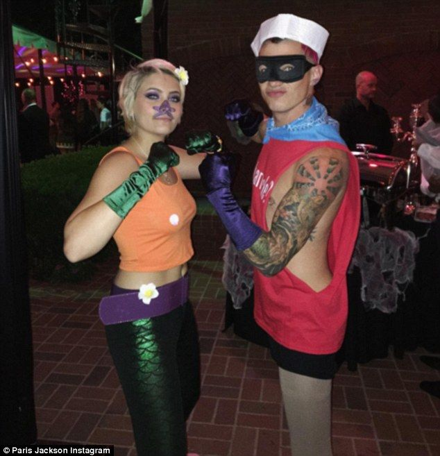 """'""""Power's in the costume!""""': As she revealed on Instagram, Paris Jackson and her boyfriend Michael Snoddy dressed as the SpongeBob SquarePants characters Mermaid Man and Barnacle Boy"""