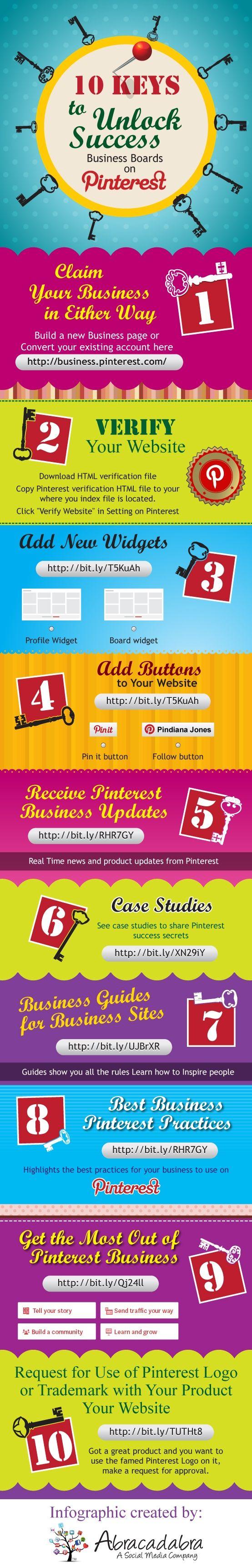 10 claves para el éxito de tu página de empresa en Pinterest #infografia #infographic #socialmedia