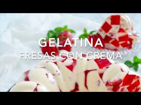 Gelatina fresas con crema estilo mosaico (muy fácil y rápida)