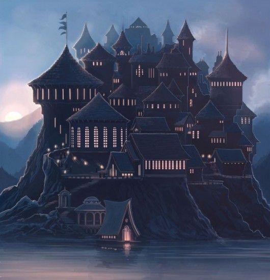 Spine Image for the Harry Potter 15th anniversary scholastic box set. An amazing Hogwarts Castle illustration by Kazu Kibuishi.