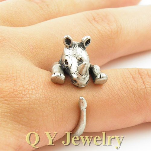 Vintage Silver Hippie Rhino Musso Animal Ring Boho Chic Brass Knuckle Rhinoceros Animal Wedding Rings For Men Women Fashion