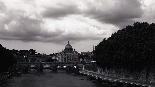 Tiber and St. Peter's Basilica, Rome, Italy.