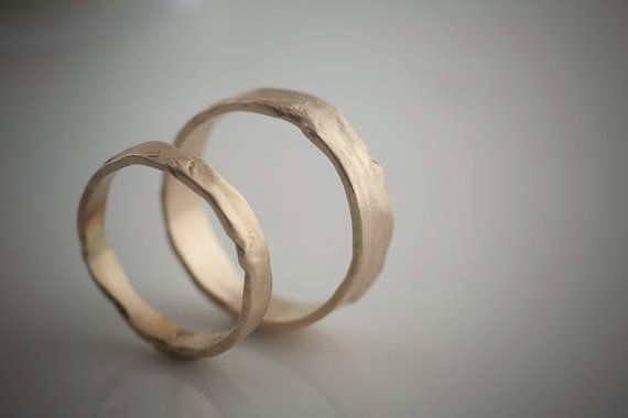 Melted Wedding Set Recycled Hand Forged 14k Yellow Gold Ring