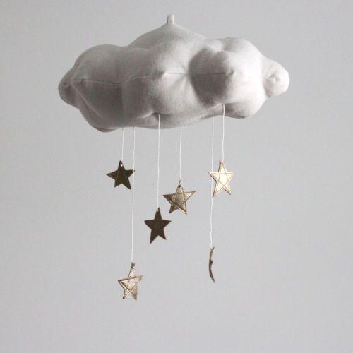 Gold Star Cloud Mobile, White Linen Blend and Gold Vinyl