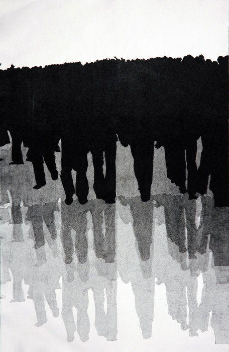 """1979"", Mono Print, 13""x20"", 2008 - Naz Rahbar."