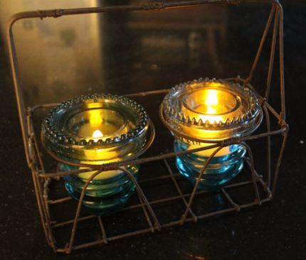 Telephone Insulator TeaLights  Have also seen them sitting on top of tealight or hanging w/ wire / twine