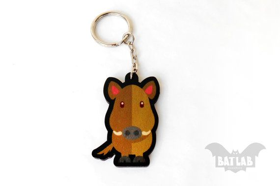 Animal Keychain from wood Wild Boar handmade keychain by BatLab