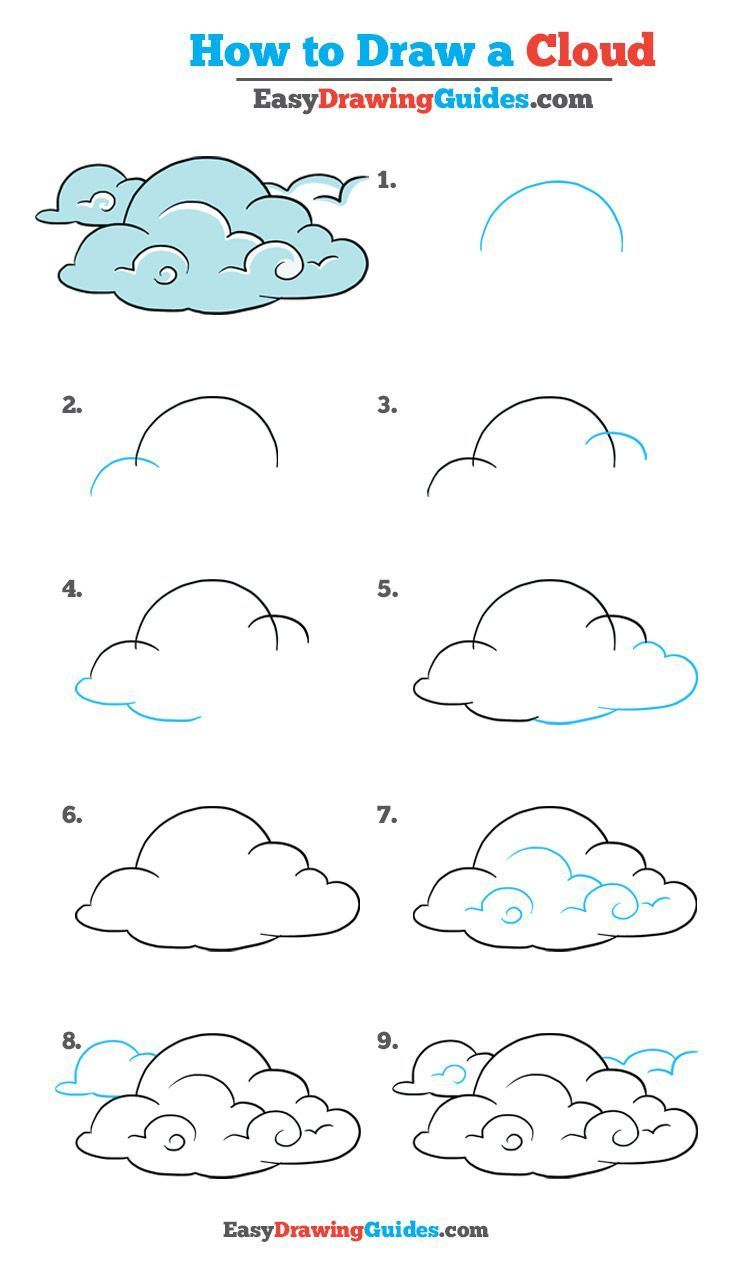 Learn How to Draw Clouds: Easy Step-by-Step Drawing Tutorial for Kids and Beginners. #Clouds #drawing #tutorial. See the full tutorial at https://easydrawingguides.com/how-to-draw-clouds-really-easy-drawing-tutorial/. #photographybasicsforkids