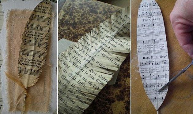 Marcalibros hecho con partituras