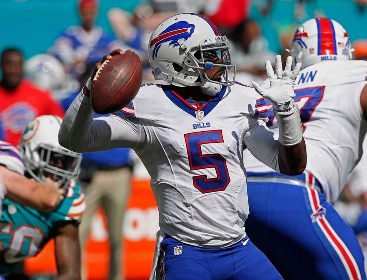 Bills vs. Dolphins:    October 23, 2016  -  28-25, Dolphins  -     Buffalo Bills quarterback Tyrod Taylor (5), looks to pass, during the first half of an NFL football game against the Miami Dolphins, Sunday, Oct. 23, 2016, in Miami Gardens, Fla.