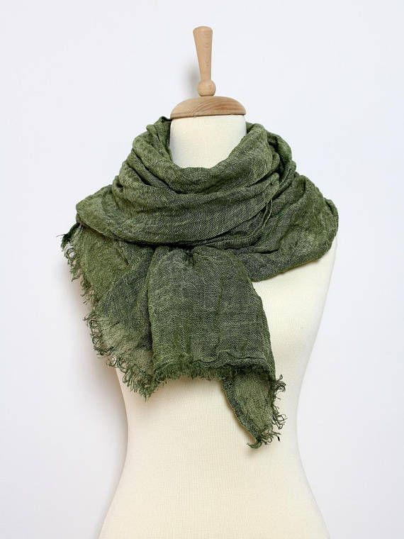 Khaki Green Linen Scarf for Men - Extra Large/ Long Linen Scarves - Oversized Linen Shawl Wrap - Moss/ Military Scarf - Earth Color Shades