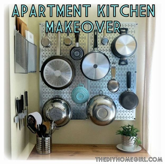 apartment rental kitchen makeover steel pegboard vertical storage diy sideboard - Kitchen Pegboard Ideas
