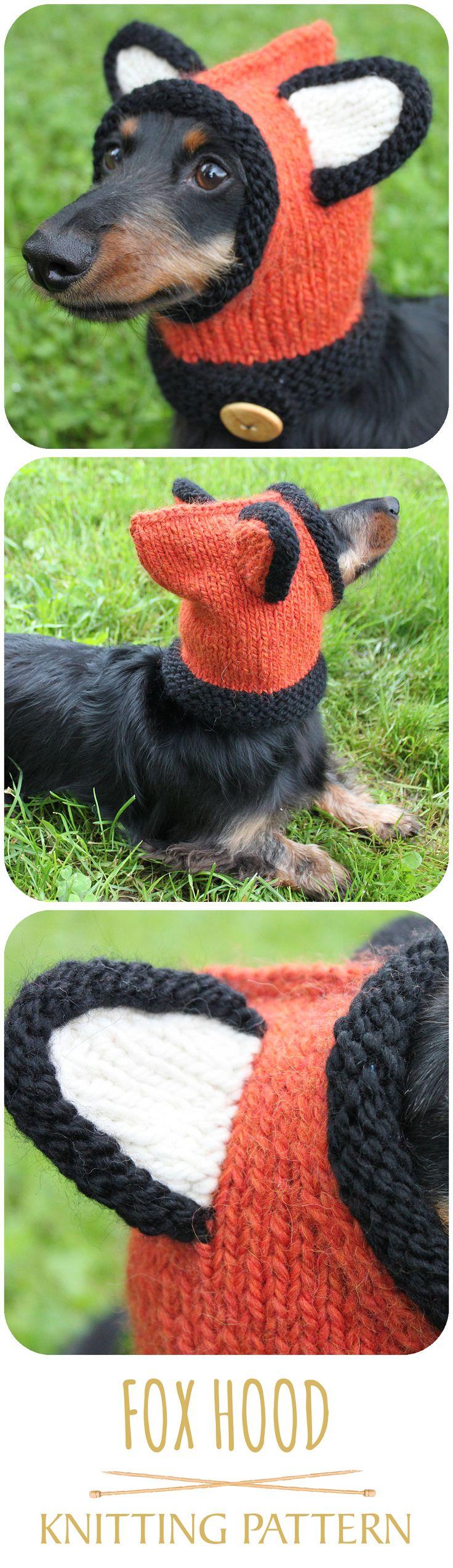 Knitted fox hood for a mini dachshund! LOL! #dog #cuteanimals #cutedogs #foxhood #knittingpattern #smalldoghat #doghat #dachshund #minidachshund