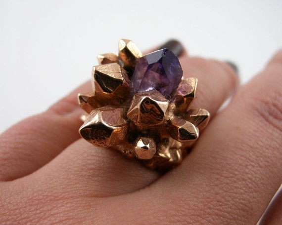 Pineapple Crystal Ring with Natural Amethyst by Angela Monaco