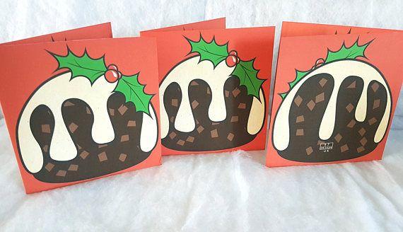 Christmas Card Set, Merry Christmas Card, Christmas Card Pack of 3, Christmas Pudding Card, Holiday Cards, Handmade Cards, Xmas Pudding Card