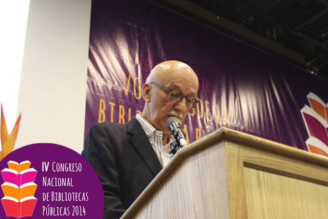 Conrado Zuluaga estuvo presente durante la apertura del IV Congreso Nacional de Bibliotecas Públicas, realizado en Bogotá los días 14, 15 y 16 de octubre de 2014.
