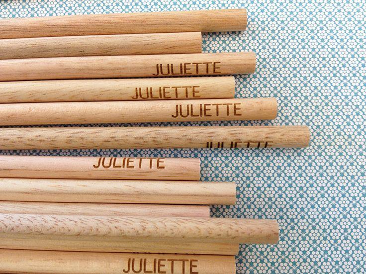 Gegraveerde houten minipotloden -Kaartjes en Co
