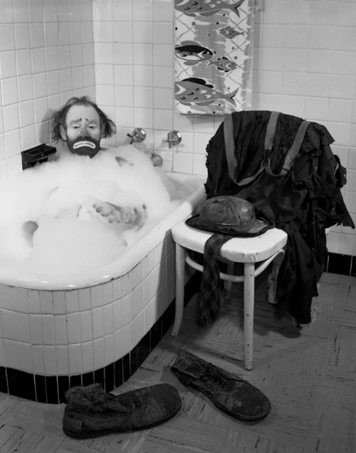 Ringling Circus clown Emmett Kelly in a bubble bath, 1955  photo byJoseph Janney Steinmetz