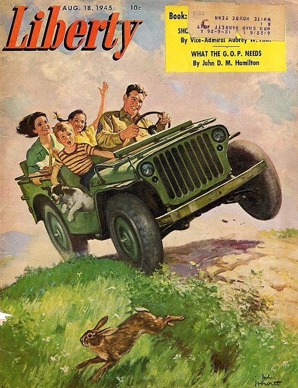 Jeep Liberty Magazine Cover  I guess seatbelts were not part of the package....