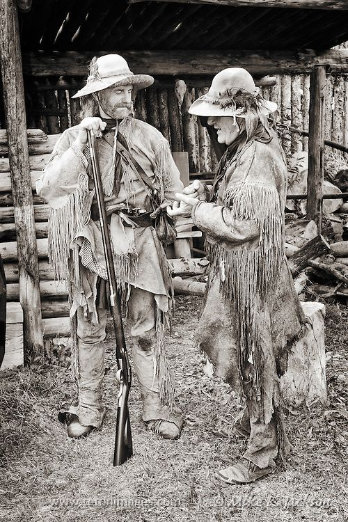 Two Mountain Men sharing a story at Historic Fort Bridger in Southern Wyoming.