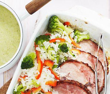 Kassler+med+broccoli+och+grönsaksris