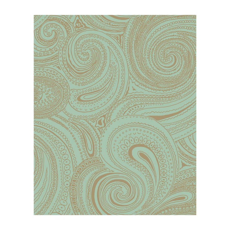 Amazon.com: York Wallcoverings AP7477 Silhouettes Swirling Paisley Wallpaper,  Teal/Gold Metallic