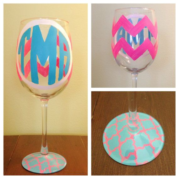 Hand painted chevron monogram wine glass chevron for Painted wine glasses with initials