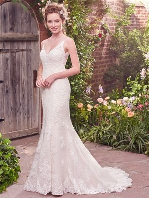 Rebecca Ingram Drew The White Rose Bridal Designer Gowns Beaded Lace Motifs Cascade Over A Layer Of Chantilly In This Lovely Fit And Flare