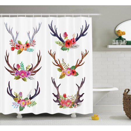 Antlers Decor Shower Curtain Set, Deer Horns Bouquet Flowers Bloom Fun Springtime Garden Branches, Bathroom Accessories, 69W X 70L Inches, By Ambesonne