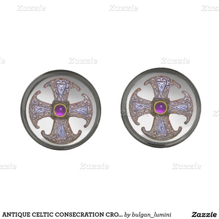 ANTIQUE CELTIC CONSECRATION CROSS Purple Gemstones Gunmetal Finish Cufflinks