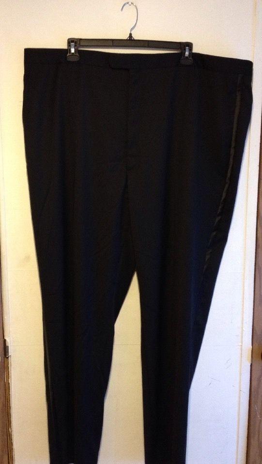 NWT STAFFORD Men Wool Suit Separates Dress Pants Black Flat Front Big Tall 50x34 #Stafford #DressFlatFront #50x34 #flatfront #bigtall #suitseparates #men #black