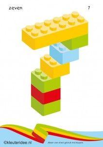 Cijfers van lego 1 -10 voor kleuters, nummer 7 , kleuteridee.nl , lego numbers for preschool 1-10 , free printable.