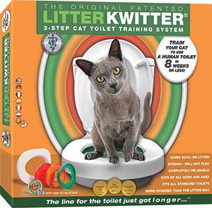 This revolutionary training system will teach your cat to use your household toilet! You can say goodbye to standing on stray pieces of litter and cleaning out that tray! The three phase program will have them potty trained in 8 weeks or less! Unit fits all standard toilets. Suitable for young and old cats, if you've taught them to use litter, you can teach them to use the Litter Kwitter! $69.99