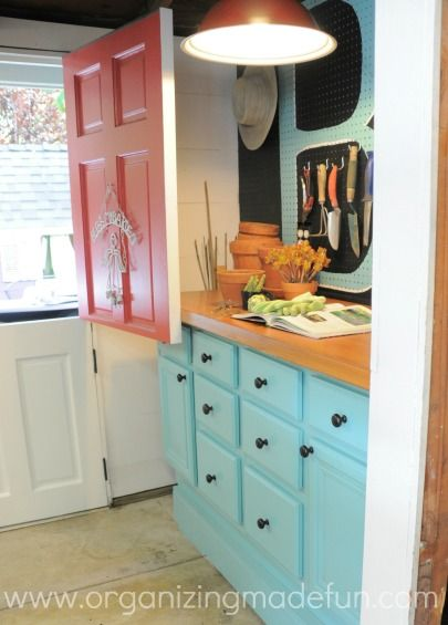 Potting Shed Dutch Door And Wall Hutch Organization  Door Cut In Half And  Added